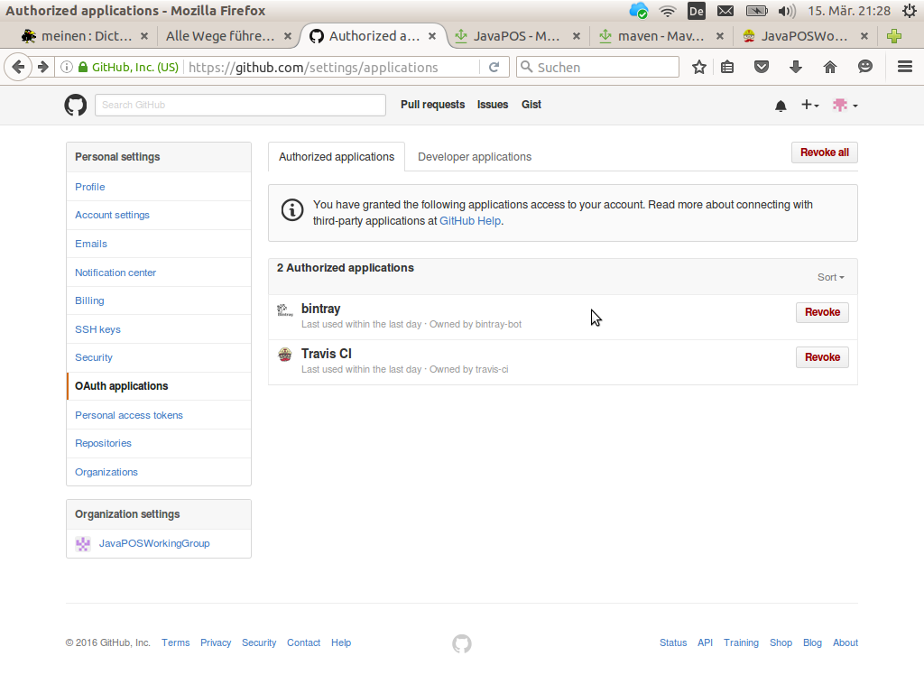 GitHub OAuth applications dialog