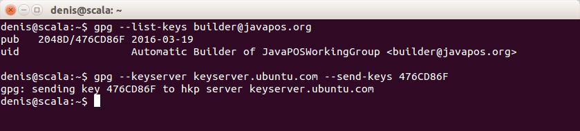 Sending public key to a public key server